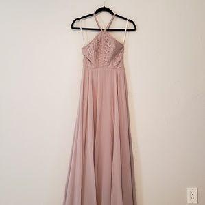 Gray LULUs full length bridesmaid/formal dress